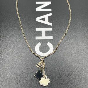 Chanel Heart Clover Charm Motif Dangle CC Necklace